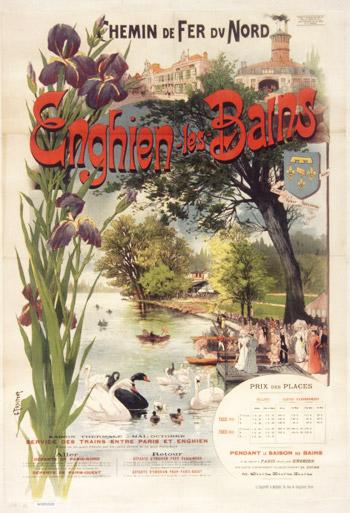 Affiche des Chemins de Fer du Nord pour Enghien-les-Bains