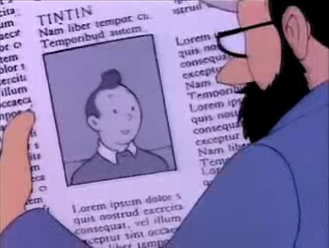 Du Lorem ipsum dans un dessin animé de Tintin