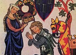 Scène médiévale d'amour courtois