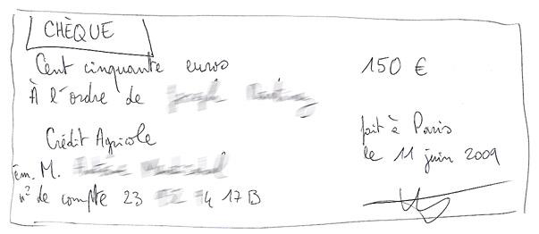 Un chèque rédigé sur papier libre