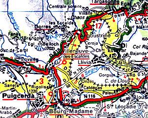 L'enclave de Llívia sur une carte routière Michelin