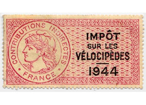 Timbre fiscal de 1944 pour l'impôt sur les vélocipèdes