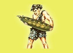 """Le """"géant vert"""" en 1928 portant une cosse de petits pois"""