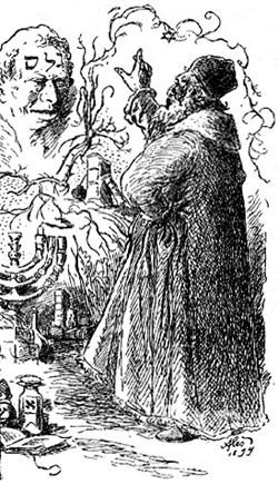 Gravure représentant le rabbin Loew et son golem (XIXè siècle)