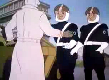Des policiers représentés en poulets dans le dessin animé Moi Renart