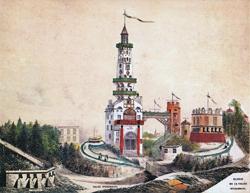Gravure représentant la reproduction de la tour Malakoff à Vanves