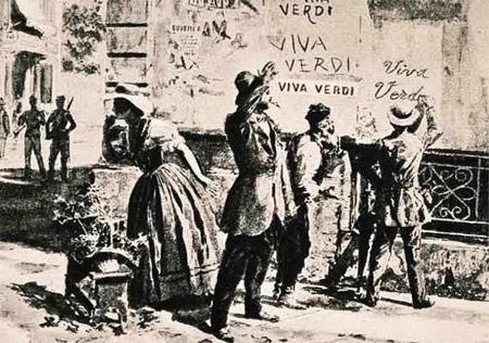 Gravure représentant un graffiti Viva Verdi sur un mur d'Italie