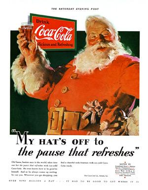 Une publicité de Coca-Cola avec le père Noël en 1931