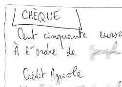 Il est possible de faire un chèque sur papier libre